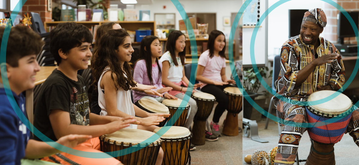 Students participating in Fana Soro's drumming workshop